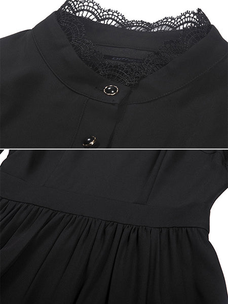 Pure Color Stitching Lace Stand Collar Puff Sleeve Dress