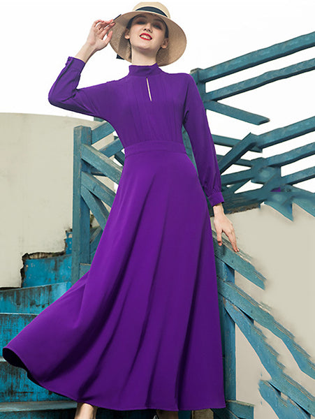 Chiffon High Collar Hollow Out Big Hem Dress