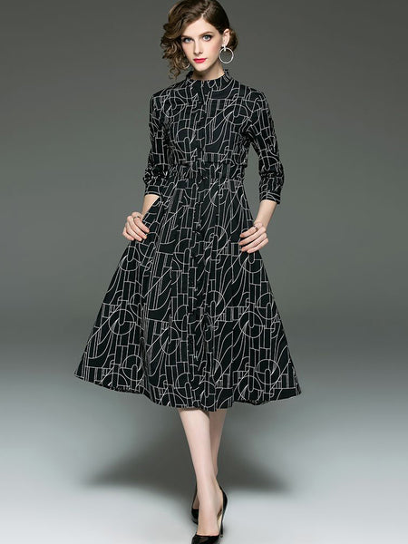 Cotton Stand Collar Long Sleeve Single-Breasted Fit & Flare Dress