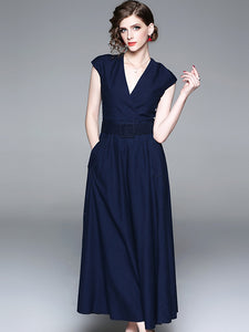 Denim V-Neck Sleeveless Belted Big Hem Maxi Dress