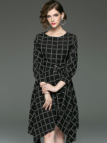 Irregular Plaid O-Neck Long Sleeve High Waist Fit & Flare Dress