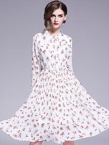 Sweet Chiffon Turn-Down Collar Collect Waist Floral Dress