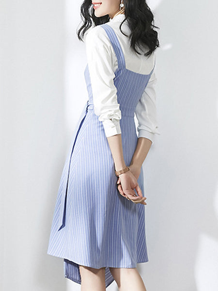 Two Pieces Stitching White Shirt & Irregular Stripe Braces Dress