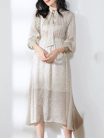 Casual Tie-Neck Long Sleeve Collect Waist Fit & Flare Dress