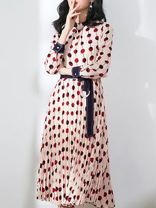 Polka Dot O-Neck Long Sleeve Lacing A-Line Dress
