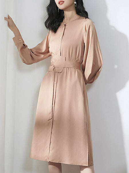 Pure Color O-Neck Long Sleeve Lacing Split Dress