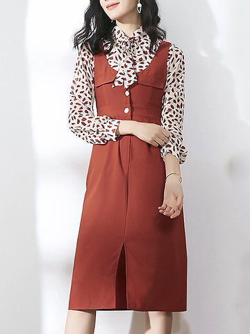 Two Pieces Bowknot Collar Print Shirt & Braces Dress