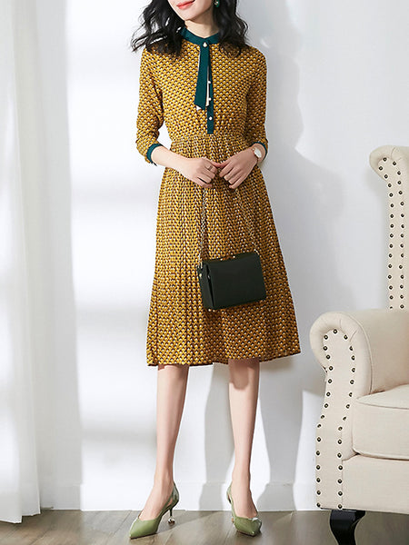 Polka Dot O-Neck Long Sleeve Beaded A-Line Dress