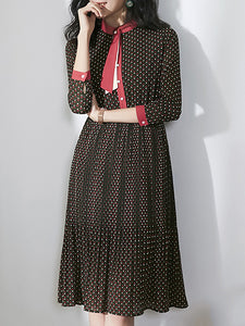 Polka Dot O-Neck Lacing Single-Breasted Dress