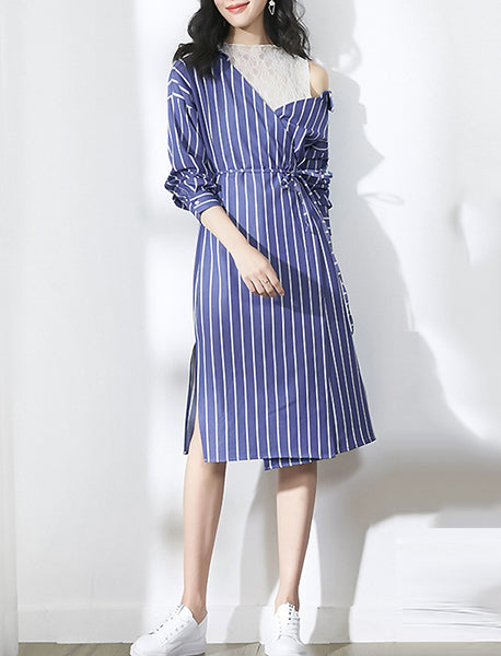 Stitching Stripe Long Sleeve Lacing Split Shirtdress