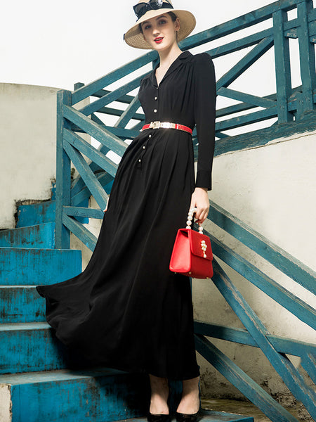 Vintage Black V-Neck Collect Waist Big Hem Maxi Dress