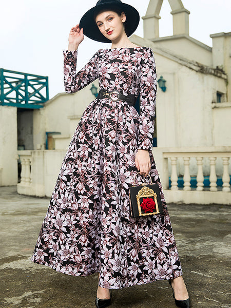 Chic Print O-Neck Long Sleeve High Waist Dress