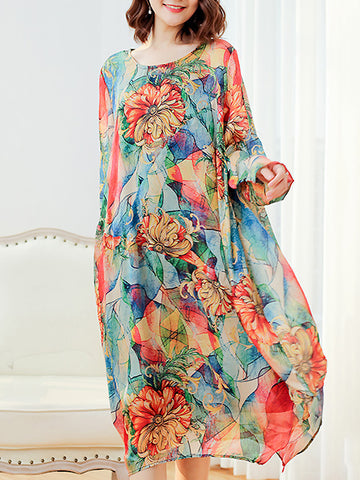 Print O-Neck Long Sleeve A-Line Dress