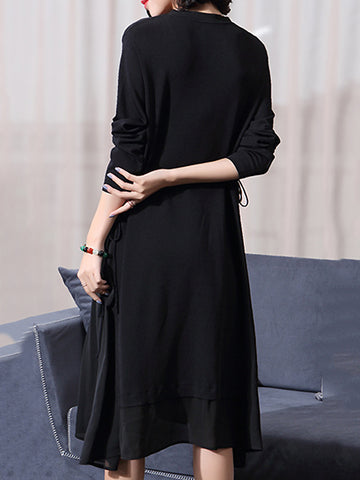 Simple Pure Color V-Neck Long Sleeve Lacing Midi Dress