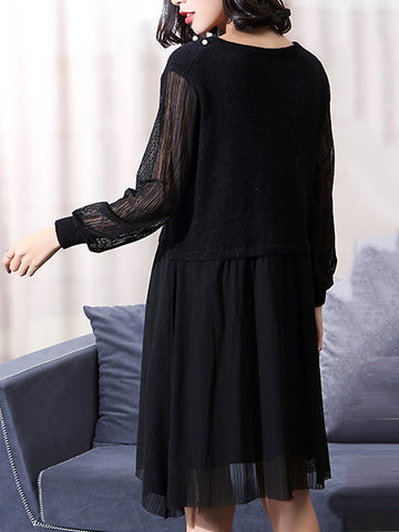 Black Mesh Stitching O-Neck Beaded  Long Sleeve Pleated Dress