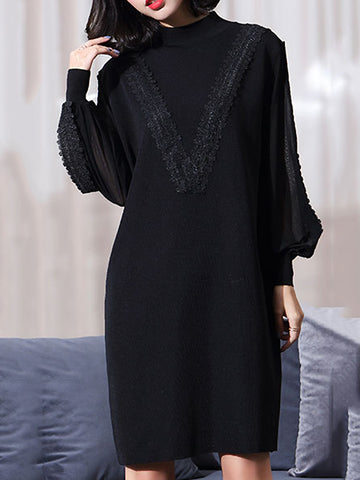 Black Knitted Stitching Half-Collar Long Sleeve Shift Dress