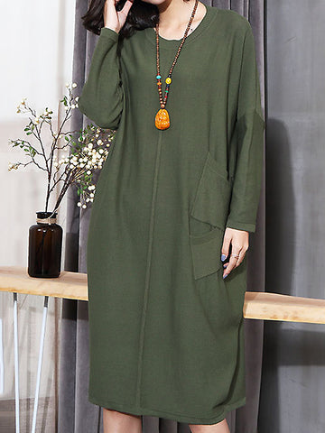 Casual Pure Color O-Neck Long Sleeve Loose Waist Puff Dress