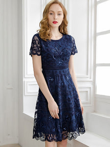 Embroidery Mesh Stitching O-Neck Short Sleeve A-Line Dress – DressSure 11bbadeb8