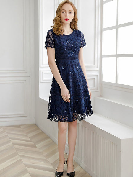 Embroidery Mesh Stitching O-Neck Short Sleeve A-Line Dress – DressSure bc956fd59