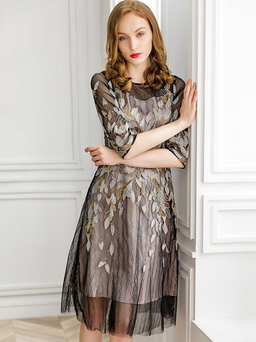 Hollow Out Embroidery Mesh O-Neck Half Sleeve A-Line Midi Dress ... 65abedcdd