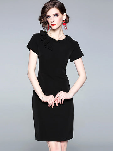 Black Cotton O-Neck Short SLeeve Bodycon Dress
