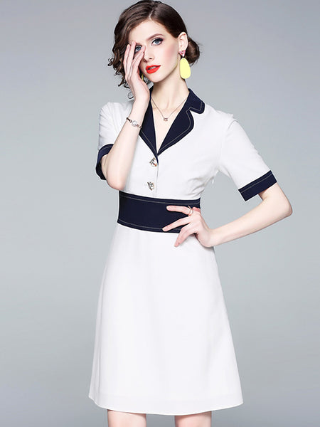 Casual Hit Color Turn-Down Collar Big Hem Dress