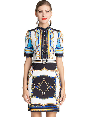 Stylish Print O-Neck Half Sleeve Bodycon Dress