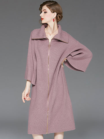Simple knitted Turn-Down Collar Flare Sleeve Dress