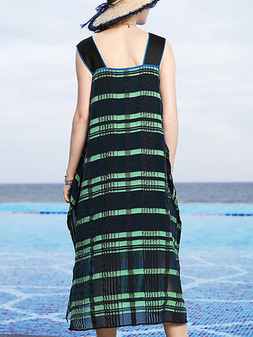 Plaid V-Neck Sleeveless Loose Waist Dress