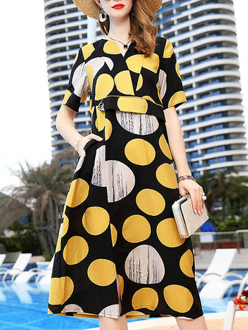 Polka Dot V-Neck Short Sleeve Collect Waist Dress