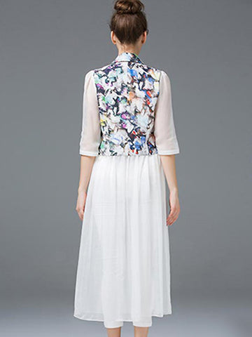Fake Two Piece Print Shirt With Silk Dress