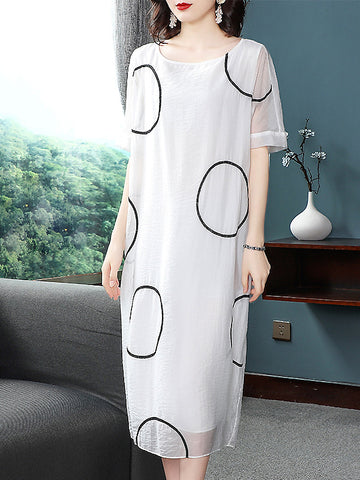 Silk O-Neck Circle Embroidery Short Sleeve Dress