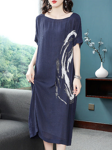 Casual O-Neck Short Sleeve Shift Dress With Braces