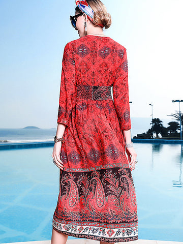 Chic Print V-Neck Long Sleeve Collect Waist Dress