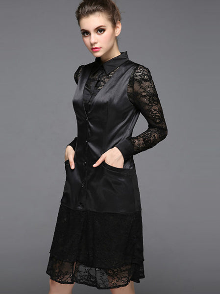 Two Pieces T-Shirt & Lace Stitching Long Sleeve Midi Dress
