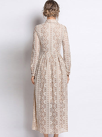 Lace Turn-Down Collar Long Sleeve Pleated Big Hem Maxi Dress