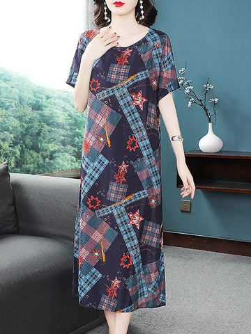 Silk Print Plaid Short Sleeve Loose Waist Dress