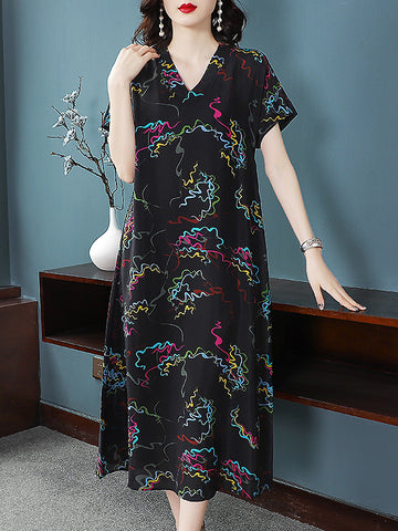 Silk Print Short Sleeve Loose Waist Dress