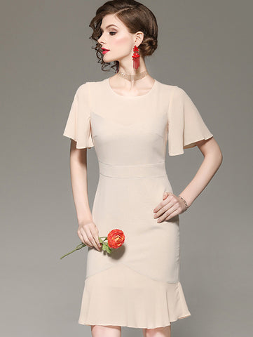 Petal Sleeve O-Neck Stitching Falbala Mermaid Slim Dress