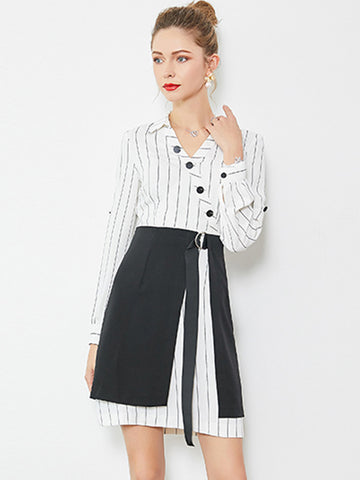 Classic Stripe Turn-Down Collar Long Sleeve Girdle Two Piece A-Line Dress