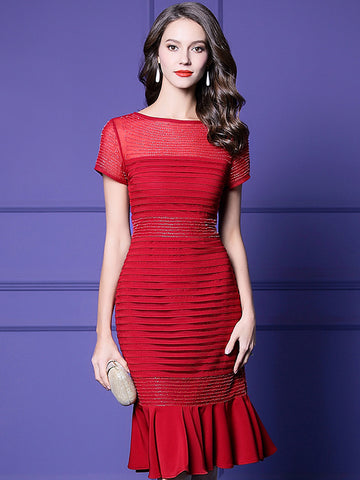 Red Mesh Bead Falbala O-Neck Short Sleeve Sheath Dress