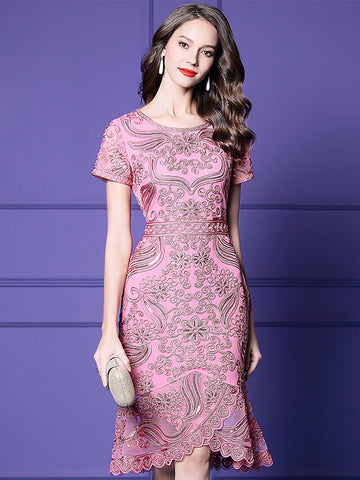 Elegant Slim Embroidery Paillette Short Sleeve O-Neck Falbala Dress
