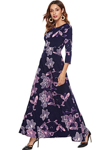Casual 3/4 Sleeve O-Neck Slim Maxi Dresses