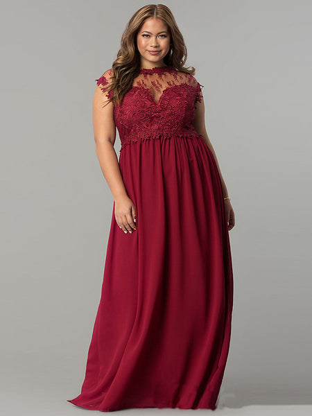 Oversize DarkRed Lace Maxi Dress Sleeves O-Neck Party Dress
