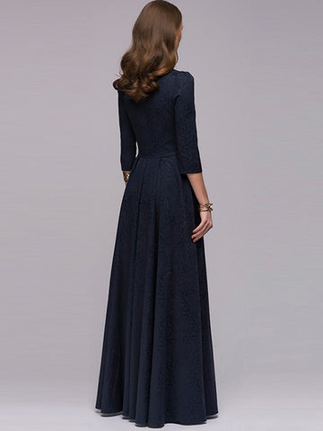 Elegant Pure Color Square Collar Big Hem Pleated Dresses