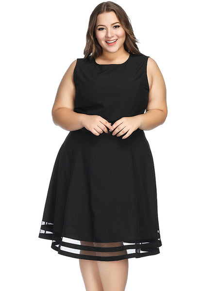 Color Block Black Oversize O-Neck Sleeves Big Hem Dress