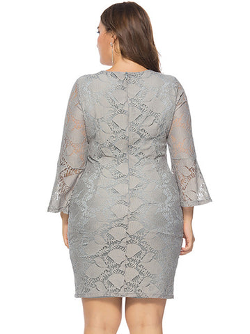 Elegant Pure Color Lace Long Sleeve O-Neck Plus Size Dress