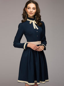Elegent Pure Color Bowknot Long Sleeve Sheath A-line Dress