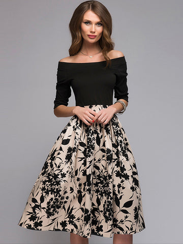 Sexy Floral Off Shoulder Slash Neck 3/4 Sleeve Sheath Dress