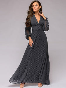 Polk dots Print Vintage Sexy Long Sleeve V-Neck Chiffon Maxi Dress
